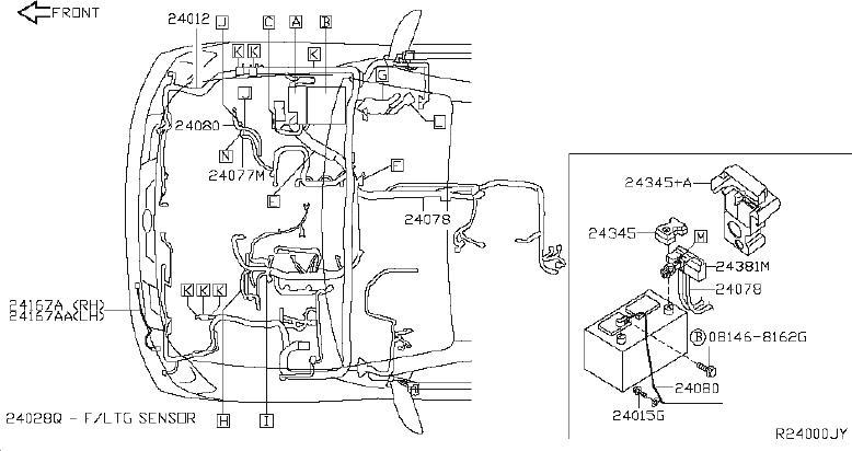 INFINITI QX56 Headlight Wiring Harness. FITTING, ENGINE