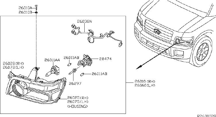 INFINITI QX56 Headlight Seal (Left). System, HEADLAMP