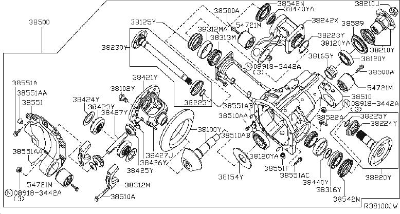 INFINITI QX56 Axle Shaft Bearing. Bearing Differential