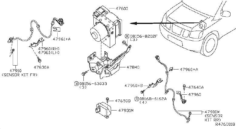 INFINITI QX56 Bracket ANTISKID Sensor. ORD FRM SRS Bracket