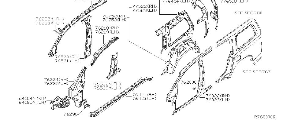 INFINITI QX56 Quarter Panel Reinforcement (Right). BODY