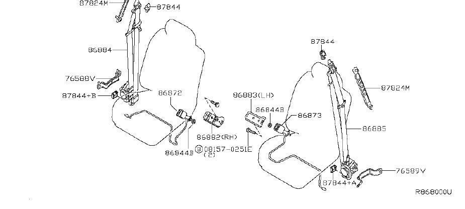 INFINITI QX56 Seat Belt Lap And Shoulder Belt (Left, Front