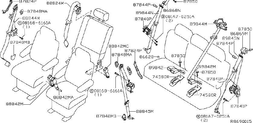 INFINITI QX56 Seat Belt Lap and Shoulder Belt. ROW