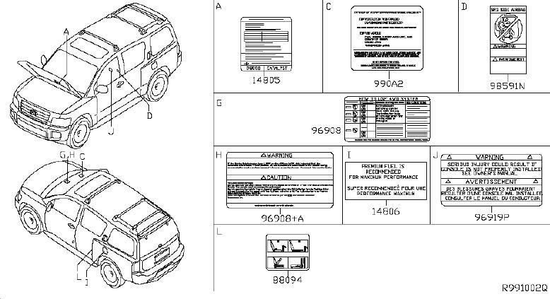 INFINITI QX56 Engine Sticker. Label Caution, Console