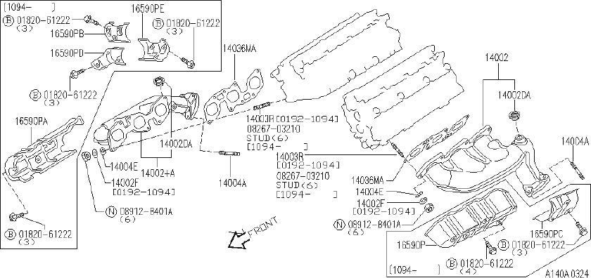 INFINITI J30 Bracket Accelerator Cable. MANIFOLD, EXHAUST