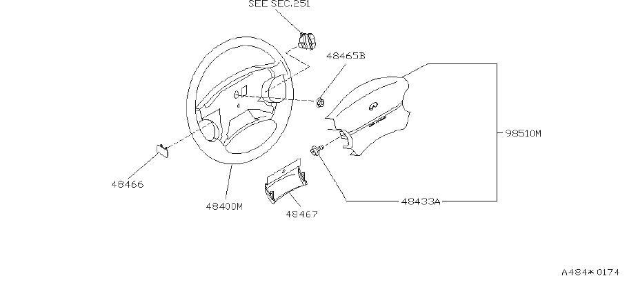 INFINITI J30 Wheel Steer Pad. Steering, Suspension, FED