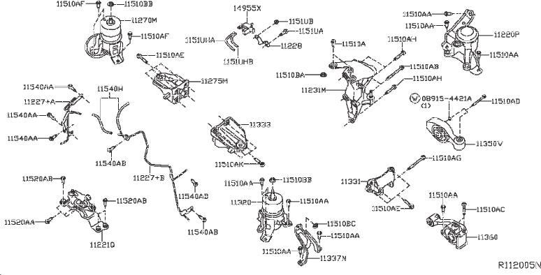 INFINITI JX35 Engine Support Rod (Rear). FWD, AWD
