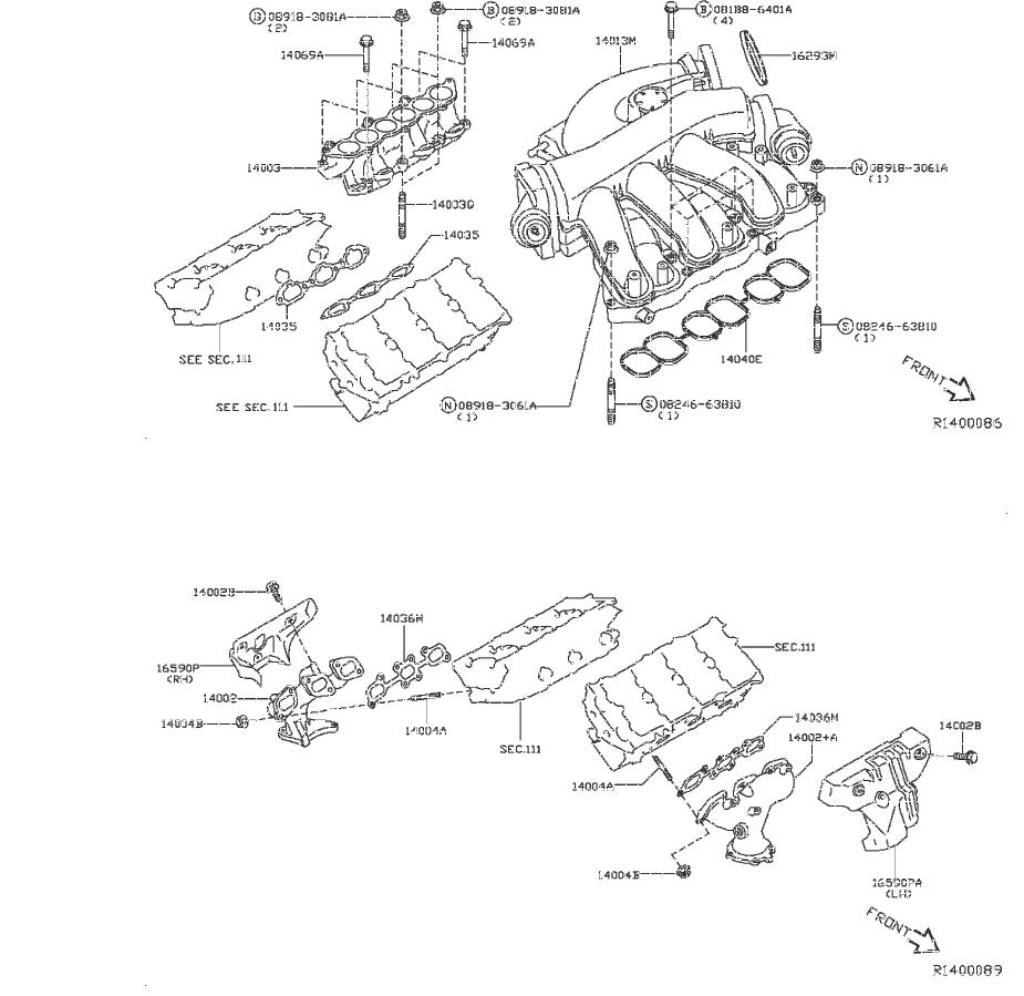 INFINITI JX35 Exhaust Manifold. ENGINE, COVER, INTAKE