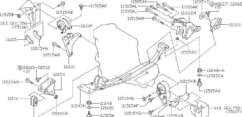 INFINITI G20 Insulator Engine Mounting. (Rear