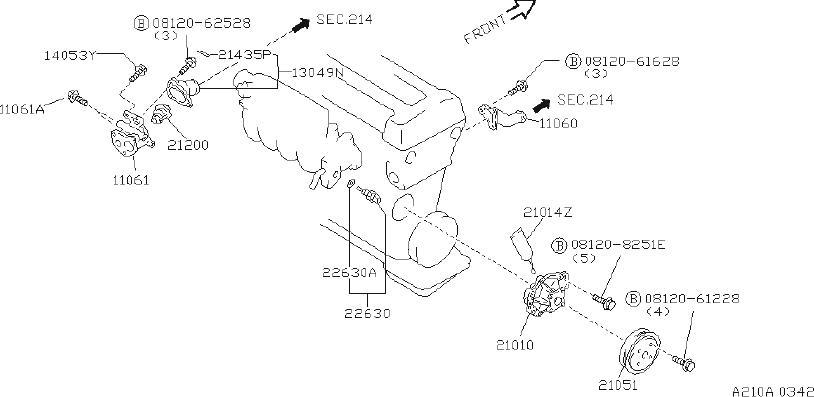 INFINITI G20 Engine Coolant Temperature Sensor Connector