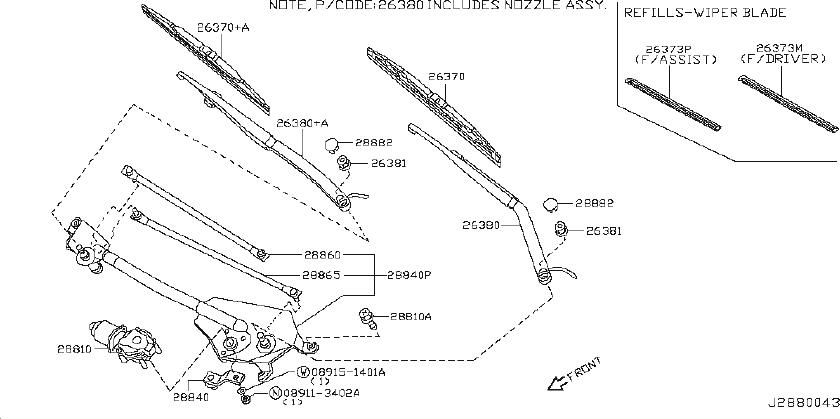 INFINITI FX45 Windshield Wiper Arm. System, Electrical