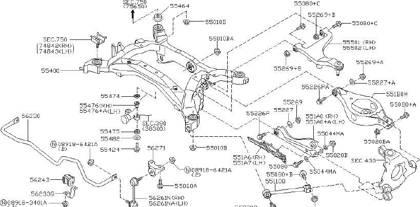 INFINITI FX35 Shock Absorber (Rear). COINED, MEMBER, LINK