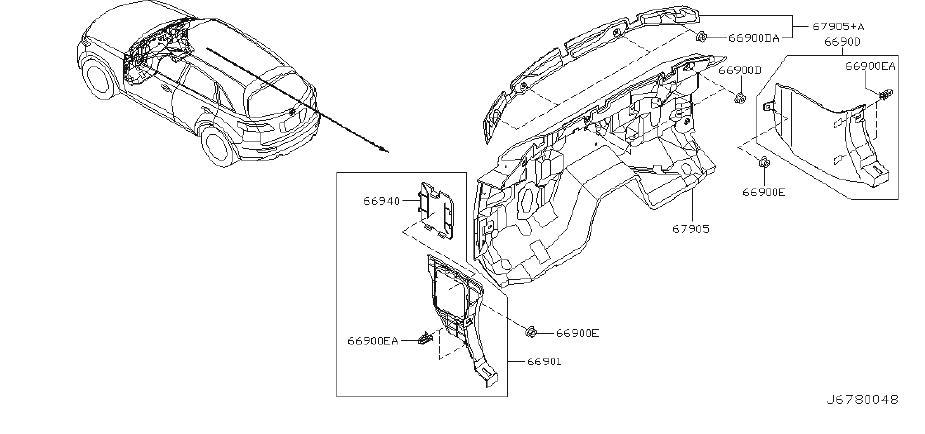 INFINITI FX35 Mask Dash Side Finisher. TRIMMING, BLACK