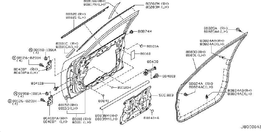 INFINITI FX35 Door Window Belt Weatherstrip (Left, Front