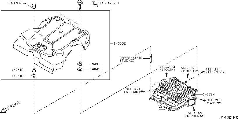 INFINITI FX35 Engine Intake Manifold. COVER, EXHAUST