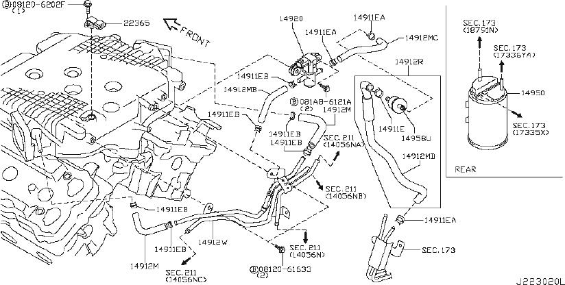 INFINITI EX35 Hose with Service Port. PIPING, CANISTER