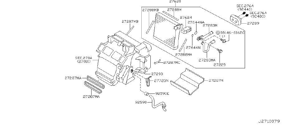 INFINITI G35 A/c evaporator core seal. Unit, heater