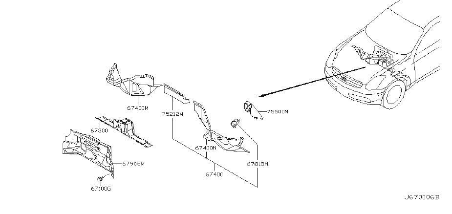 INFINITI G35 Dashboard Panel Brace. COUPE, CONVERTIBLE