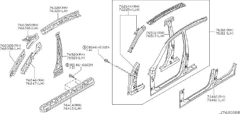 INFINITI G35 Body A-Pillar Reinforcement Plate (Left