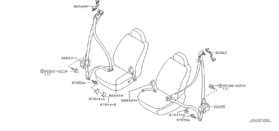INFINITI G35 Seat Belt Lap And Shoulder Belt Bracket (Left