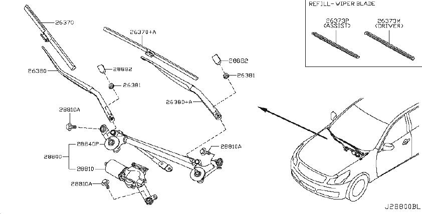 INFINITI G37 Windshield Wiper Blade. System, Electrical