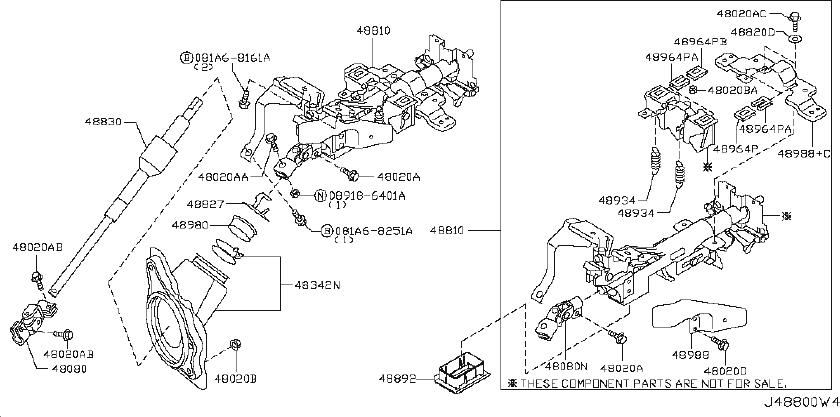 INFINITI G35 Steering Column (Upper). JOURNEY, POWERED