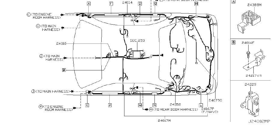 INFINITI M45 Bracket Harness Clip. ENGINE, BODY, HAENESS