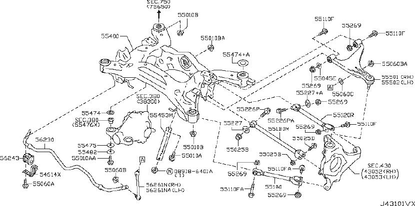 INFINITI M56 Shock Absorber (Rear). MEMBER, Suspension