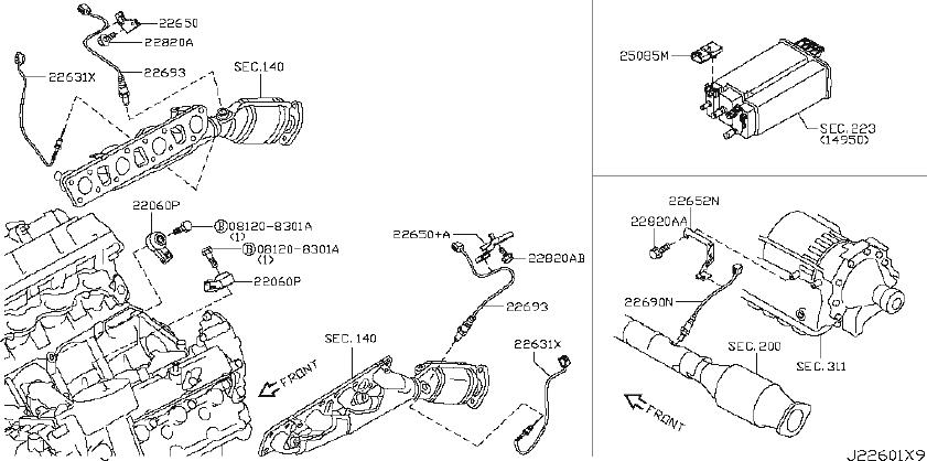 INFINITI QX56 Oxygen Sensor Bracket. ENGINE, CONTROL, ECM