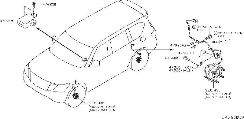 INFINITI QX56 Bracket Antiskid Sensor. Bracket Skid