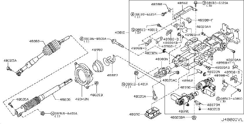 INFINITI QX56 Steering Shaft Universal Joint (Upper). TILT