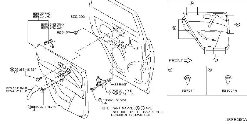 INFINITI QX56 Door Interior Trim Panel (Right, Rear