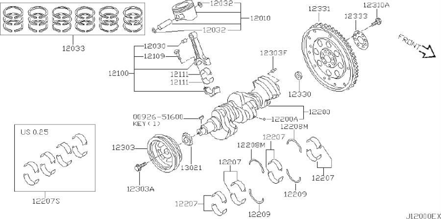INFINITI I35 Engine Crankshaft Thrust Washer (Lower