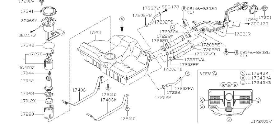 INFINITI I30 Fuel Filter. Strainer Fuel. TANK, COMPL