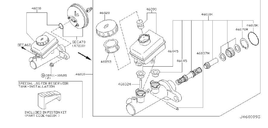INFINITI I35 Brake Master Cylinder Reservoir Cap (Rear