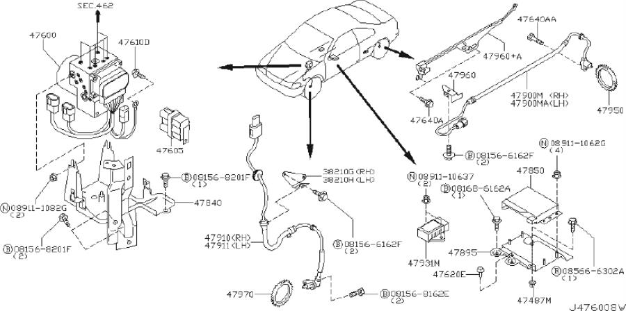 INFINITI I35 Abs Wheel Speed Sensor (Left, Front). TCS