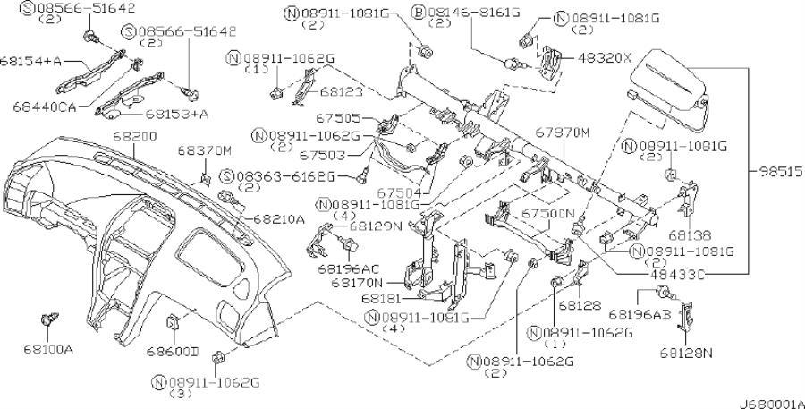 INFINITI I30 Instrument Panel Air Bag. CLUSTER, PAD, LID