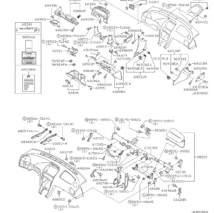 INFINITI I35 Instrument Panel Air Bag. CLUSTER, PAD, LID