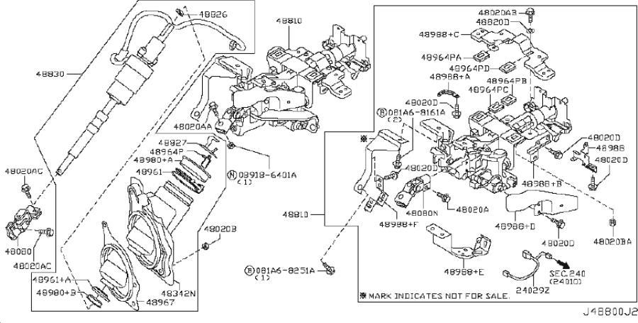 INFINITI G37 Steering Column (Upper). POWERED, SED, MANUAL