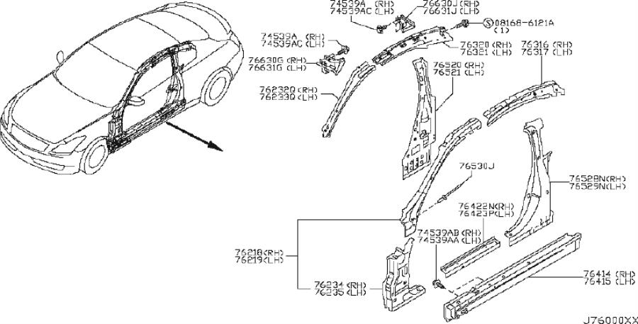 INFINITI G37X Seat Track Support (Right). FRONT, Body