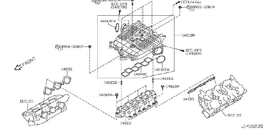 INFINITI G37 Cover Exhaust Manifold. Engine, INTAKE, UPR
