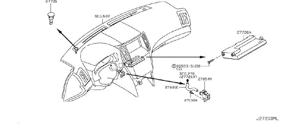 INFINITI G37 Cabin Air Temperature Sensor Aspirator Tube