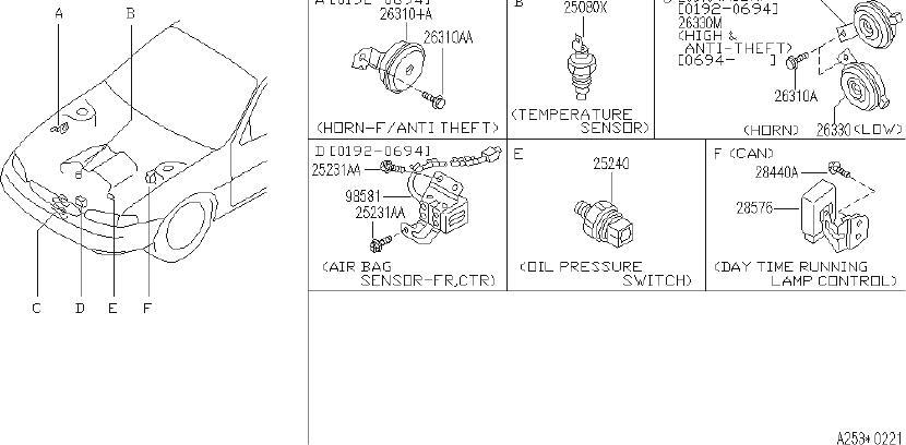 INFINITI J30 Horn Electric. (Lower). BODY, CAL, FED