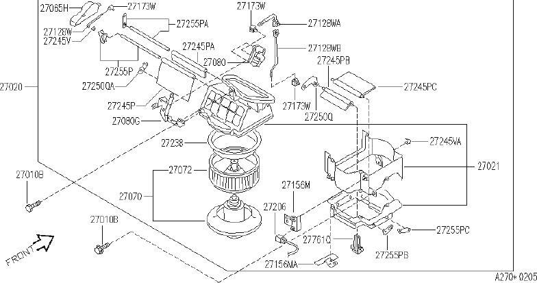 INFINITI J30 Hose Motor Cooling. UNIT, BLOWER, HEATER