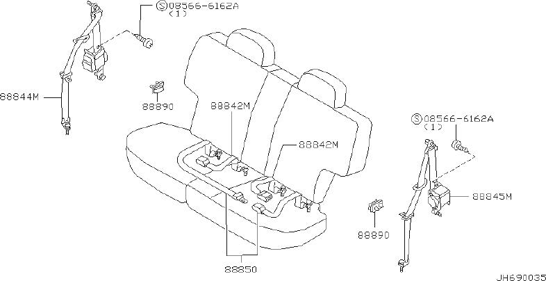 INFINITI QX4 Seat Belt Lap And Shoulder Belt (Right, Rear