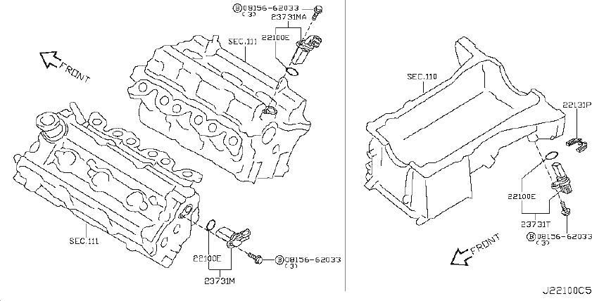 INFINITI FX35 Crankshaft Position Sensor. DISTRIBUTOR, REV