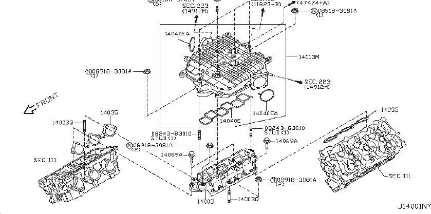 INFINITI FX35 Exhaust Manifold. ENGINE, COVER, INTAKE