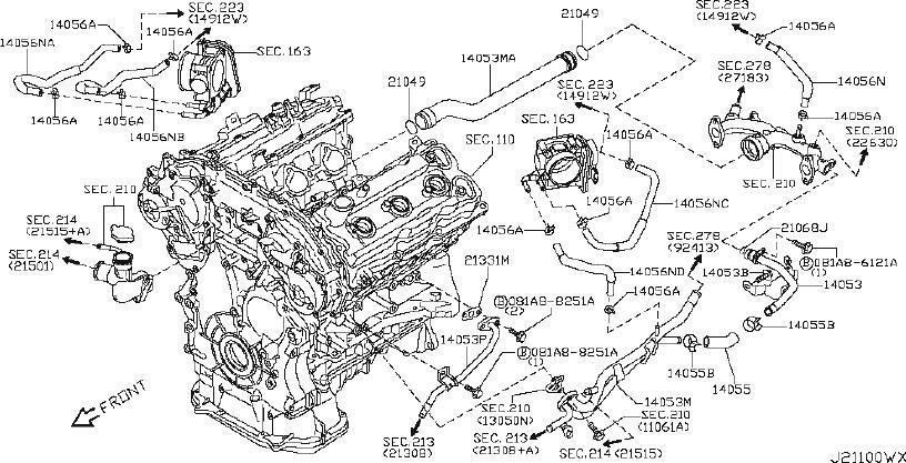 INFINITI FX35 Engine Coolant Pipe. AWD, PIPING, VALVE