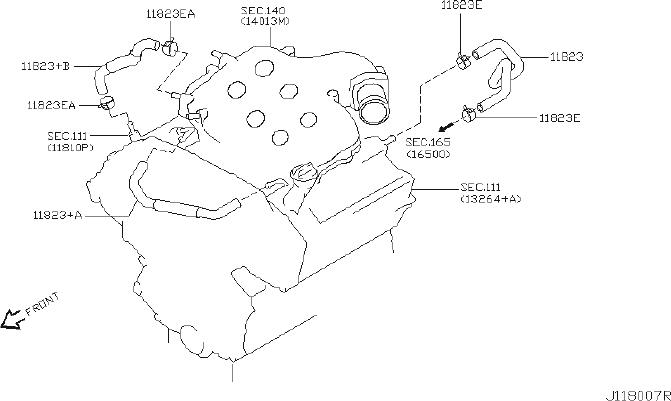 INFINITI G35 Hose Blowby Gas. CRANKCASE, VENTILATION