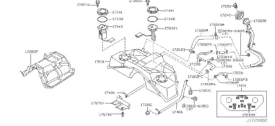 INFINITI G35 Fuel Injection Pressure Regulator Clip. TANK